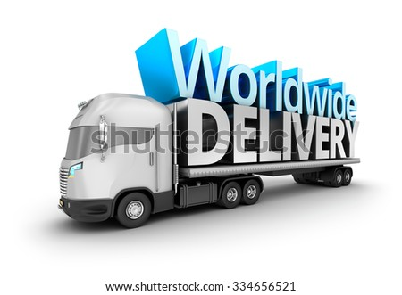 Modern truck with Worldwide delivery word, isolated. My own truck design. - stock photo