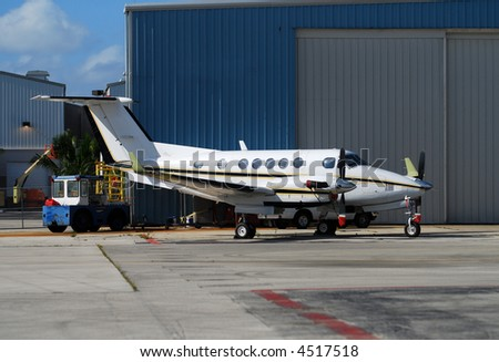 Modern turboprop airplane Beechcraft Kingair 200 - stock photo