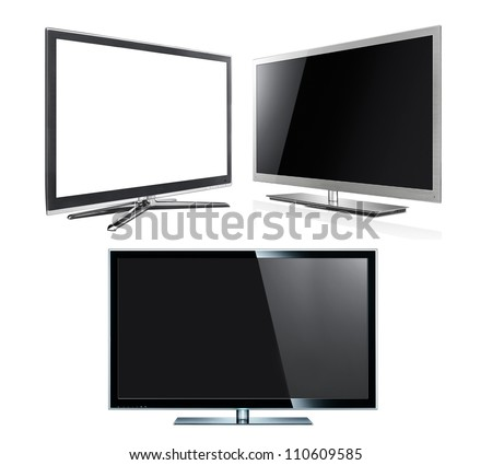 Modern tv panels isolated on the white - stock photo