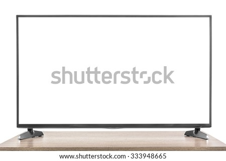 Modern TV set with white screen on the table. Isolated on white background.