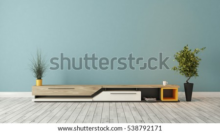 Modern Tv Stand Design With Blue Wall In The Room Decoration Idea 3D  Rendering By Sedat