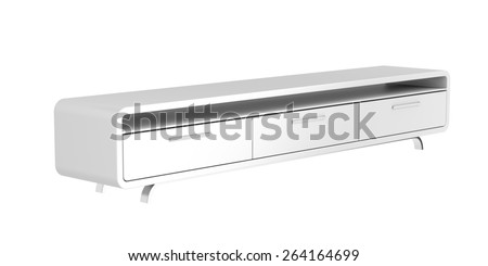 Modern tv stand isolated on white background - stock photo