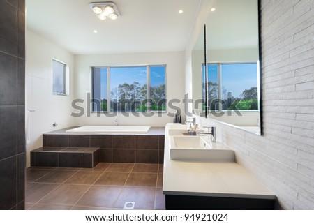 Modern twin bathroom with stylish bath - stock photo