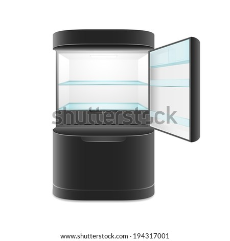 Modern two door black refrigerator, isolated,  illustration