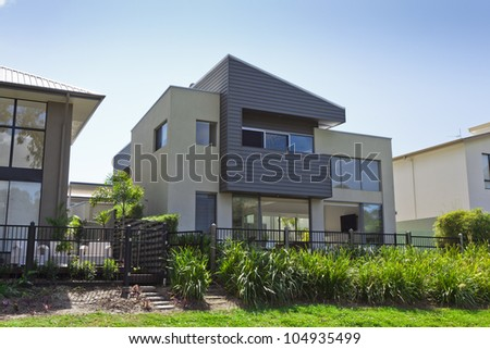 Modern two story Australian house front - stock photo