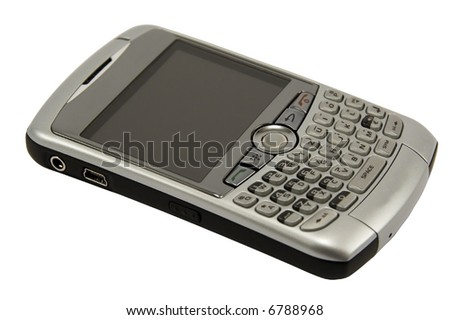 Modern type of phone with large display against white background.