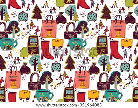Modern Urban City shopping landscape color seamless pattern. People on the street and shops. Color illustration.  - stock photo