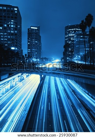 Modern Urban City with Freeway Traffic at Night, Down Town Los Angeles - stock photo