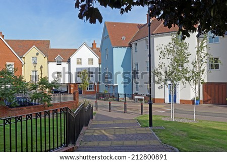 Modern urban housing in a UK town centre.(Colchester, Essex, UK) - stock photo