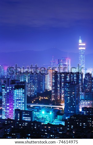 Modern urban landscape at night