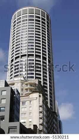 Modern Urban Round Office Building In Sydney, Glass Facade, Australia - stock photo