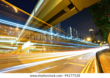 Modern urban traffic at night