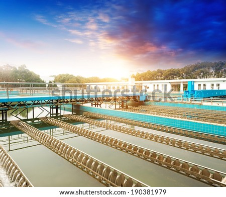 Modern urban wastewater treatment plant - stock photo
