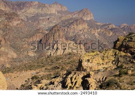 Modern use of Apache Trail in Fish Creek Canyon; Arizona in Winter - stock photo