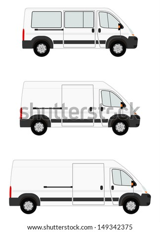 Modern van set on white background. Place for any text - stock photo