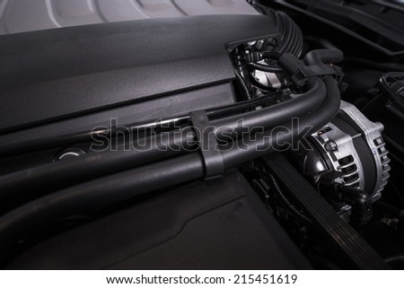 Modern Vehicle Engine. Super Car Gas Engine Closeup. - stock photo