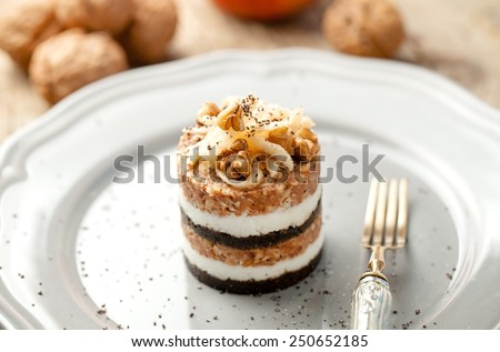 Modern version of traditional slovenian dessert Prekmurska gibanica - stock photo