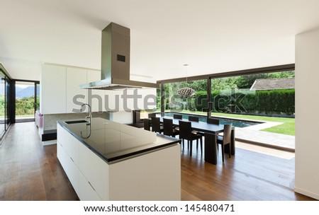 Modern villa, interior, beautiful kitchen - stock photo