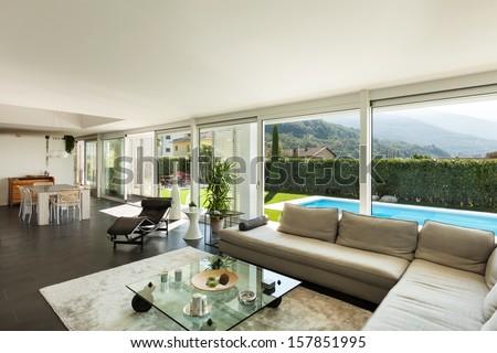 Modern villa, interior, beautiful living room - stock photo