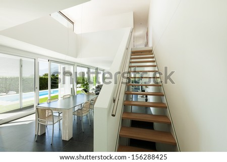 Modern villa, interior, staircase view - stock photo