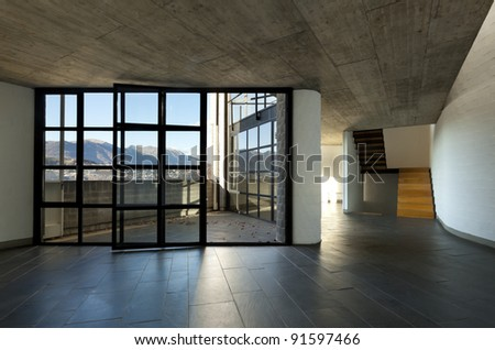 modern villa large window with panoramic view, interior