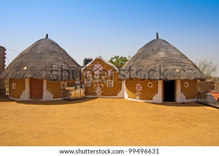 modern village in India - stock photo