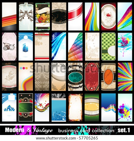 Modern & Vintage Business Card Collection - 32 quality backgrounds - Set 1 - stock photo