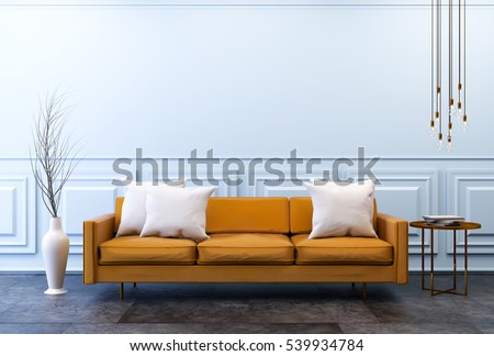 Modern Vintage Interior Living Room Brown Stock Illustration ...
