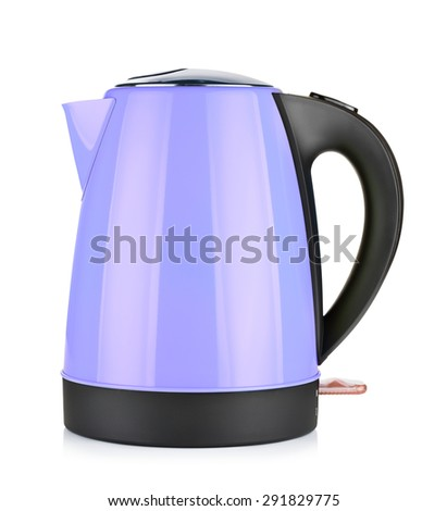 modern violet electric kettle, isolated on white - stock photo