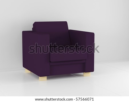 Modern violet sofa in the white room, 3D illustrations - stock photo
