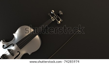 Modern Violin render on dark background