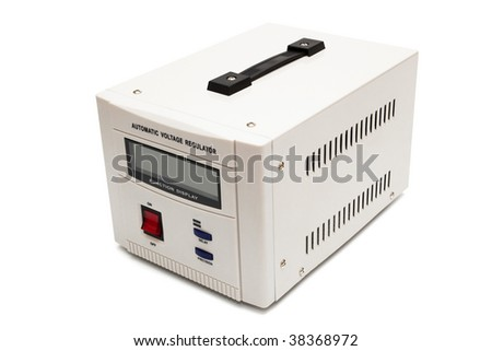 modern voltage stabilizer on a white background - stock photo