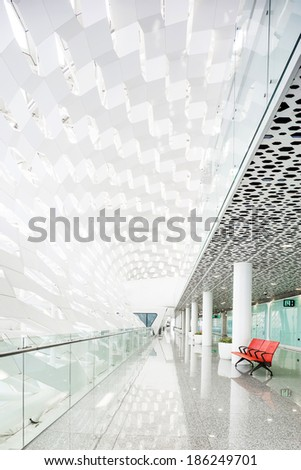 modern waiting room in the mall - stock photo