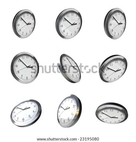 modern wall clock 3d rotation hdri lights - stock photo