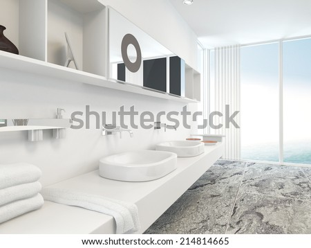 Modern wall mounted white double vanity unit with hand basins, mirrors and folded towels with a floor to ceiling panoramic window with blinds in the background - stock photo