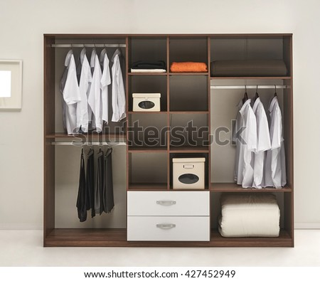 modern wardrobe and interior background - stock photo