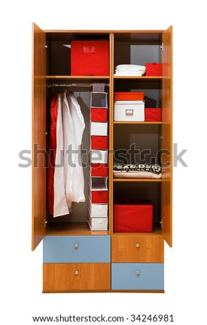 modern wardrobe with clothes on a white background - stock photo