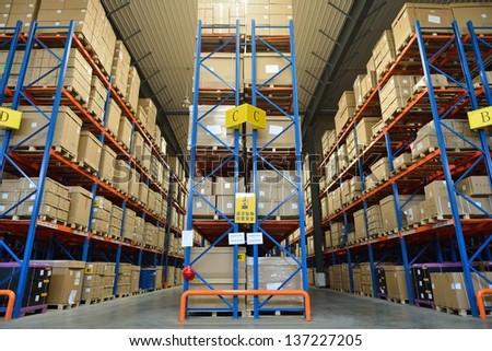 modern warehouse - stock photo