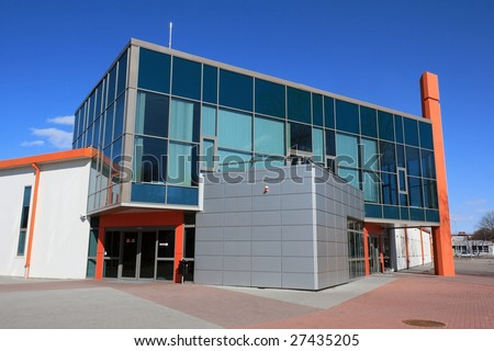 Modern warehouse and office building entrance - stock photo