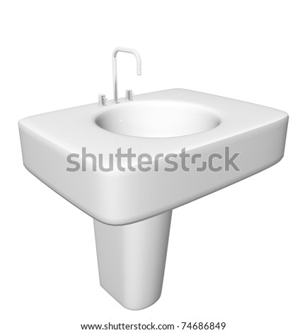 Modern washbasin or sink with faucet and plumbing fixtures hidden, isolated against a white background.