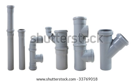 Modern water drain pipes. Isolated on white. - stock photo