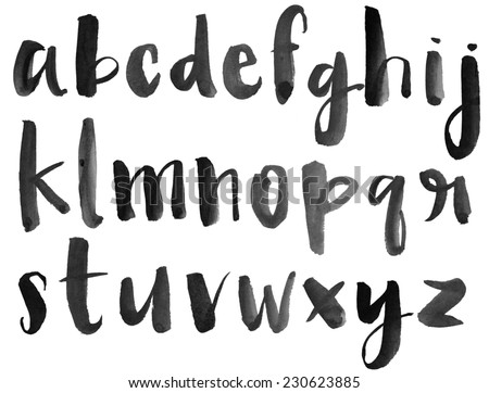 Modern Watercolor Alphabet. Watercolor Font. ABC Painted Letters. Modern Brushed Lettering. Painted Alphabet - stock photo