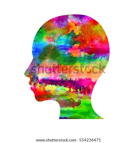 Modern Watercolor head logo of Psychology. Profile Human. Creative style. Logotype in . Design concept. Brand company. Rainbow bright color isolated on white background. Symbol. Psychedelic draw.