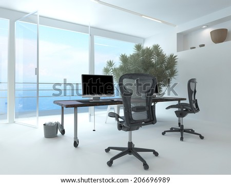 Modern waterfront office interior with a computer workstation and chairs in front of a large floor-to-ceiling glass window overlooking the sea and a large potted plant in the corner - stock photo
