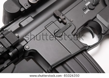 Modern weapon series. US Army M4A1 assault rifle receiver close-up. Object on white background. - stock photo