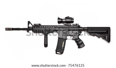 Modern weapon series. US Army Spec Ops M4A1 custom build carbine with RAS Viltor-style upper receiver, red dot sight, tactical hand grip and crane stock. Studio shot isolated on a white backgound. - stock photo