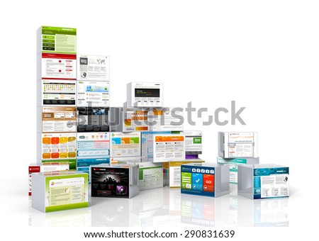 Modern web design templates mapped on aluminum boxes. Stacked and arranged. For advertising and promotions. - stock photo