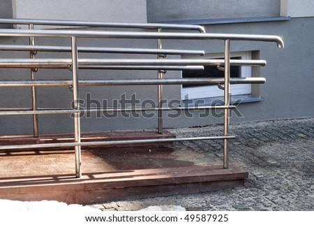 Modern wheelchair ramp in church door