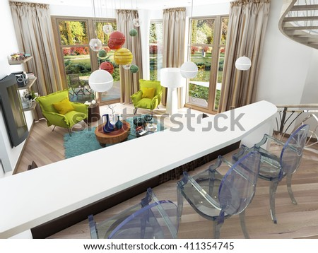 Modern white bar with three transparent chairs. The bar counter in the kitchen-dining room overlooking the living room. 3D render. - stock photo