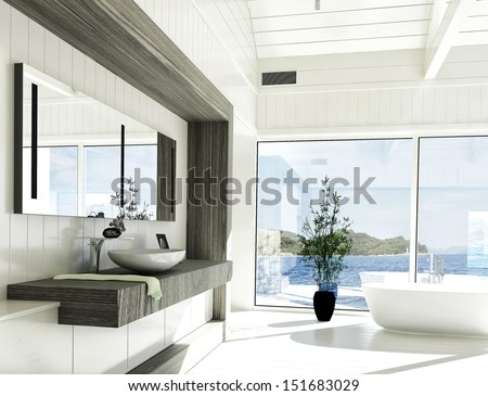 Modern white bathroom interior with huge windows and scenic view - stock photo